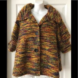 DAMEE, INC MULTI COLOR STRING FUZZY JACKET L